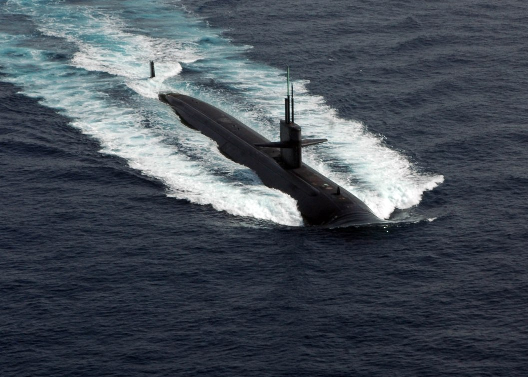 080417-N-3165S-098 At sea (Apr. 17) -- The Los Angeles class fast-attack submarine USS Norfolk (SSN-714) leads a formation of the ships taking part in Operation Arabian Shark '08. Operation Arabian Shark '08 was a joint exercise, focusing on anti-submarine warfare, between the navies of the U.S., Bahrain and Pakistan. U.S. Navy photo by Mass Communication Specialist Seaman Ryan Steinhour. (RELEASED)