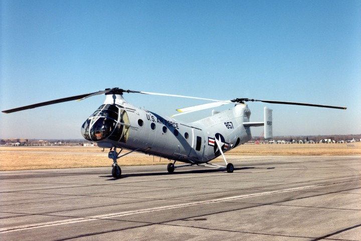 DAYTON, Ohio -- Vertol CH-21B Workhorse at the National Museum of the United States Air Force. (U.S. Air Force photo)