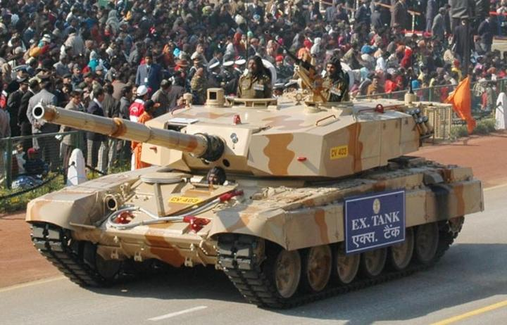 Ex Tank passes through the Rajpath during the full dress rehearsal for the Republic Day Parade-2008, in New Delhi on January 23, 2008.
