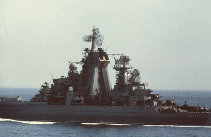 A port quarter view of the Soviet nuclear-powered guided missile cruiser KIROV (065) underway.
